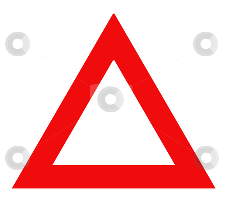 Warning red triangle sign stock photo, Warning red triangle sign isolated on white background. by Martin Crowdy