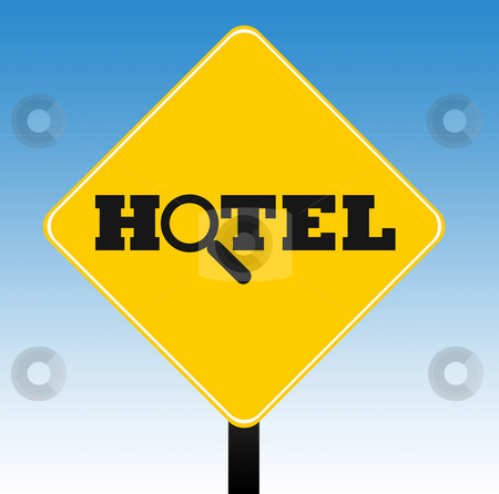 Looking for hotel sign stock photo, Looking for hotel or motel road sign with a blue sky background. by Martin Crowdy