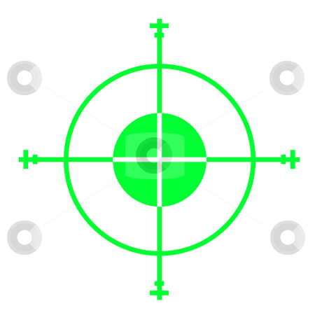 Gun sight stock photo, Green sniper gun sight cross hairs, isolated on white background. by Martin Crowdy