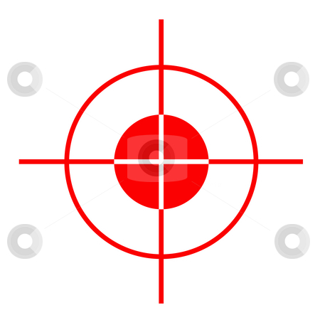 Gun sight stock photo, Red gun sight cross hairs, isolated on white background. by Martin Crowdy