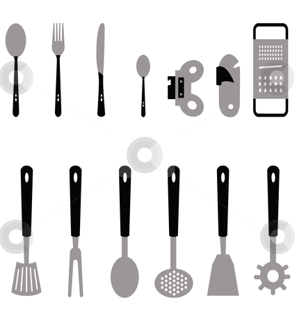 Kitchen stock vector clipart, Different types of cutlery for the kitchen created with vectors by Alejandro Lozano campa?