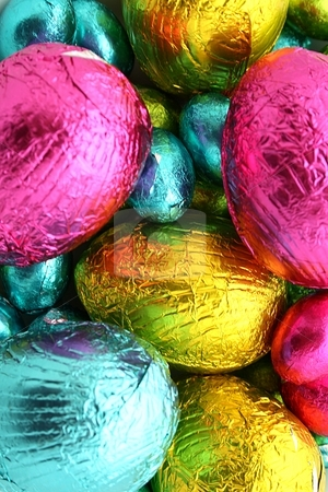 Easter Egg stock photo, Foil covered chocolate Easter eggs by Keri Bevan