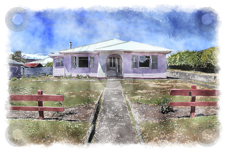 Water color house stock photo, An illustration of a nice watercolor house by Markus Gann