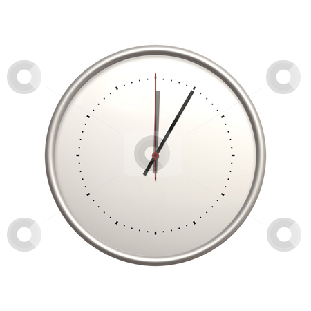 Clock stock photo, An illustration of a big white clock 5 minutes by Markus Gann