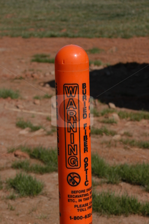 Warning marker stock photo, Warning marker for underground buried optical cable by Tim Markley