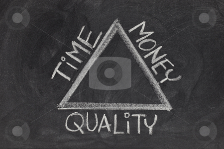 Time, money, quality balance stock photo, Balance between time, quality and money in a project development - rough white chalk drawing on blackboard by Marek Uliasz
