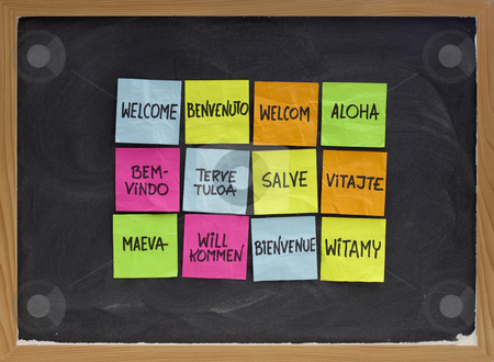 Welcome in a dozen of languages stock photo, Welcome in a dozen of languages (Finnish, Slovak, Tahitian, Italian, Latin, English, German, Hawaian, Portuguese, Dutch, Polish, French) - array of colorful sticky notes on blackboard with white chalk texture by Marek Uliasz
