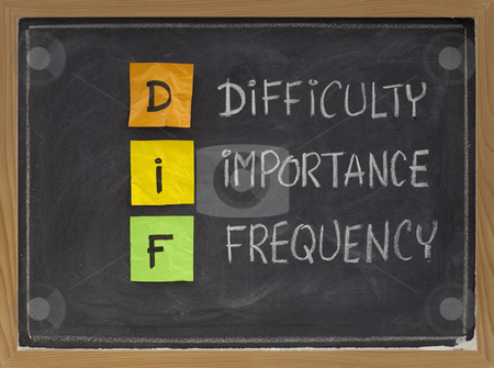 Difficulty, importance, frequency - DIF analysis stock photo, Difficulty, importance, frequency - DIF analysis, a method of assessing performance, prioritising training needs and planning; color sticky notes, white chalk handwriting on blackboard by Marek Uliasz