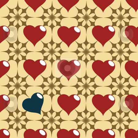 hearth pattern stock photo, Seamless red and black hearth pattern by Richard Laschon
