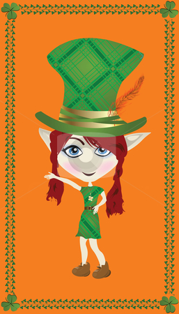 Leprechaun card stock photo, Celebration card for Saint Patrick's Day with leprechaun by Richard Laschon