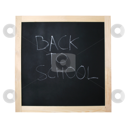 Back to school black board with path stock photo, Black board with back to school written in calc - file contains a clipping path by Jon Helgason