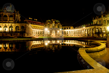 Dresden at night stock photo, Dresden at night. Zwinger building at lamp light. by Val Thoermer