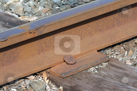Rusty Train track macro stock photo, A rusty Train track macro by Jim Mills