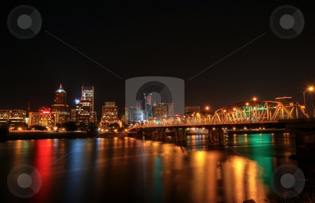 Portland Downtown Skyline at Night stock photo, Night shot of Portland Oregon Downtown Skyline by Thye Gn