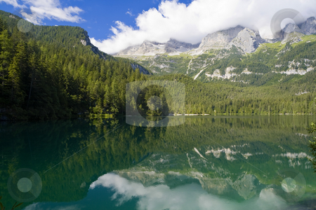 Lago Tovel, Italy stock photo, Summer view of a beautiful lake in Italian alps by ANTONIO SCARPI