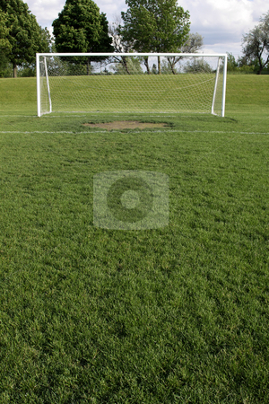 Goal Crease stock photo, A view of a net on a vacant soccer pitch. by Chris Hill