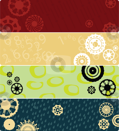 Four web banners  stock photo, Four web banners or backgrounds with stylized gears. Highly detailed in various colors. by Richard Laschon