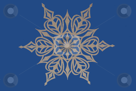Snowflake on blue background stock photo, A Snowflake on blue background by Jim Mills