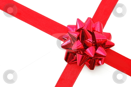 Christmas Gift with ribbon stock photo, Christmas gift with ribbon and copy space by Gunnar Pippel