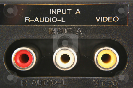 Audio video input jacks stock photo, Audio video input jacks macro by Jim Mills