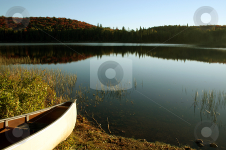 Ready to Glide stock photo, A canoe cast in the bright morning sunlight in Algonquin provincal park, in Ontario, Canada. by Chris Hill
