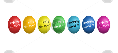 Colorful easter eggs isolated on white stock photo, Colorful easter eggs isolated on white background by Julian Weber