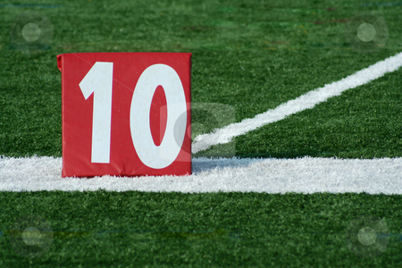 Football ten yard marker stock photo, A red Football ten yard marker by Jim Mills