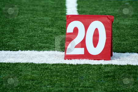 Football twenty yard marker stock photo, A Red Football twenty yard marker by Jim Mills