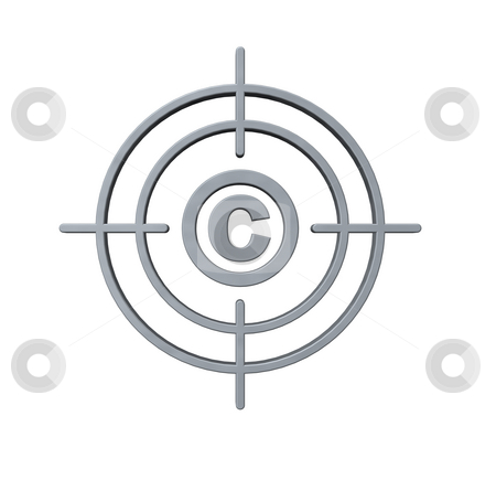 Copyright target stock photo, Gun sight with copyright symbol on white background - 3d illustration by J?
