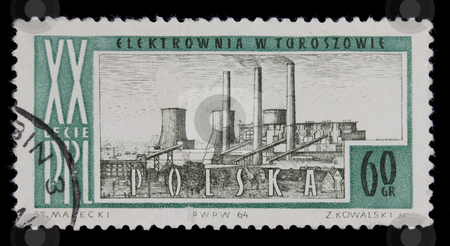 Coal power plant on vintage post stamp from Poland stock photo, POLAND 1964 - vintage canceled post stamp with drawing of coal power plant in Turoszow, commemorating 20th anniversary of Polish People Republic, black background by Marek Uliasz