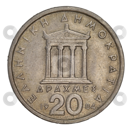 Parthenon, ancient Greek temple stock photo, Parthenon, ancient Greek temple, schematically represented on old circulated 20 drachma coin from 1984 (copper with allumnium and nickel) by Marek Uliasz