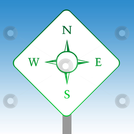 Compass road sign stock photo, Directional compass road sign in green isolated on white with blue sky background. by Martin Crowdy