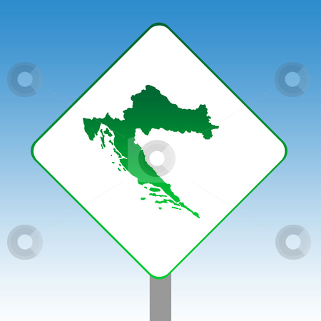 Croatia map road sign stock photo, Croatia map road sign in green isolated on white with blue sky background. by Martin Crowdy