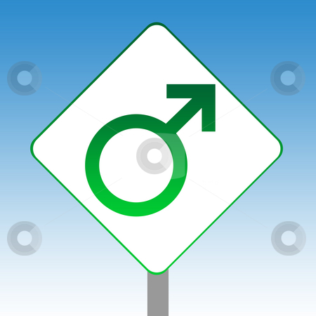 Male gender symbol sign stock photo, Male gender symbol road sign in green isolated on white with blue sky background. by Martin Crowdy
