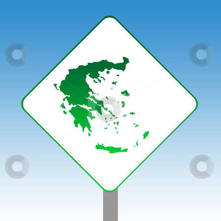Greece map road sign stock photo, Greece map road sign in green isolated on white with blue sky background. by Martin Crowdy