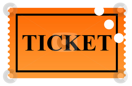 Punched Ticket stock photo, Orange serrated punched ticket isolated on white background. by Martin Crowdy