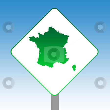 France map road sign stock photo, France map road sign in green isolated on white with blue sky background. by Martin Crowdy