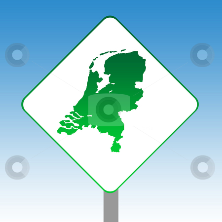 Netherlands map road sign stock photo, Netherlands map road sign in green isolated on white with blue sky background. by Martin Crowdy