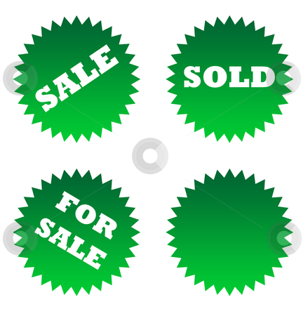 Sale Rosettes stock photo, Four green sale rosettes, isolated on white background. by Martin Crowdy