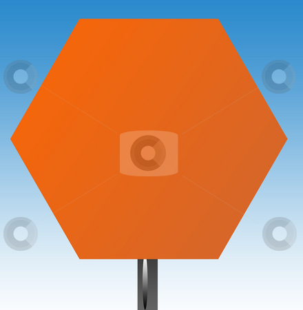 Blank hexagonal road sign stock photo, Blank hexagonal road sign isolated on graduated blue sky background. by Martin Crowdy