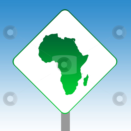 Africa map road sign stock photo, Africa map road sign in green isolated on white with blue sky background. by Martin Crowdy