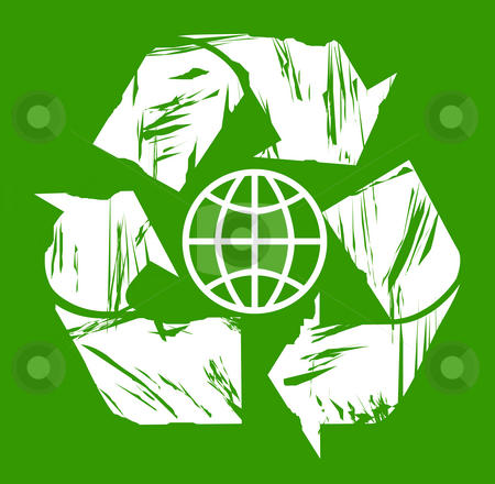 Used global recycling symbol stock photo, Used global white recycling symbol isolated on green background. by Martin Crowdy