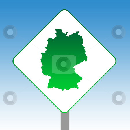 Germany map road sign stock photo, Germany map road sign in green isolated on white with blue sky background. by Martin Crowdy