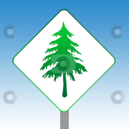 Forestry Sign stock photo, Forestry road sign in green isolated on white with blue sky background. by Martin Crowdy