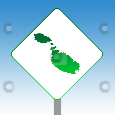 Malta map road sign stock photo, Malta or Maltese islands map road sign in green isolated on white with blue sky background. by Martin Crowdy