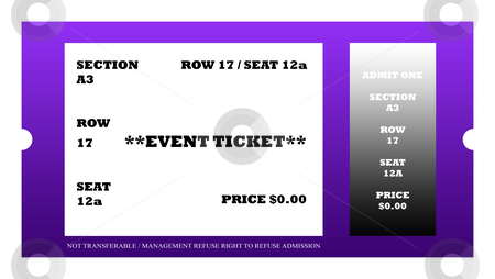 Event ticket stock photo, Illustration of event ticket isolated on white background. by Martin Crowdy