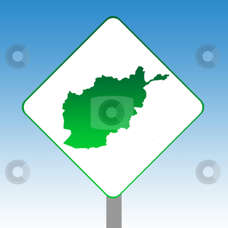 Afghanistan map road sign stock photo, Afghanistan map road sign in green isolated on white with blue sky background. by Martin Crowdy