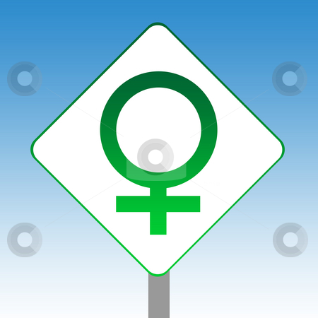 Female gender symbol sign stock photo, Female gender symbol road sign in green isolated on white with blue sky background. by Martin Crowdy