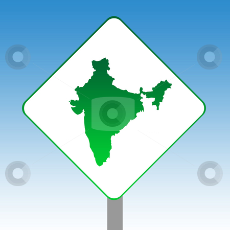 India map road sign stock photo, India map road sign in green islolated on white with blue sky background. by Martin Crowdy