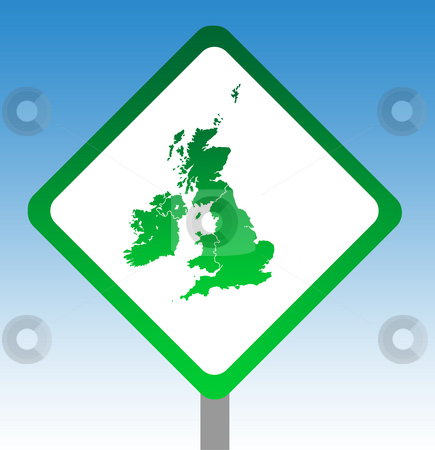 United Kingdom road sign stock photo, United Kingdom and Ireland map road sign isolated on graduated sky background. by Martin Crowdy